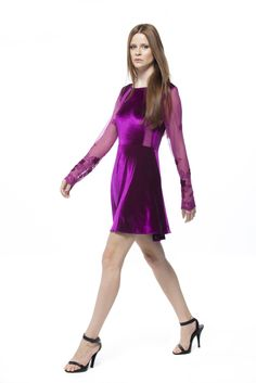 Vestido - Veludo de Malha Nuance e Tule Bordado Velvet #VELUDOS #florais #FocusTextil