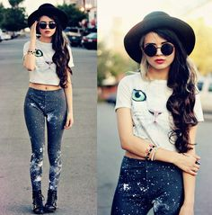 New Moda Hipster Mujer Outfits Clothes Ideas Leggings Mode, Crop Top And Leggings, Leggings Fashion, Print Leggings, Black Leggings, Trendy Fashion, Plus Size Fashion, Girl Fashion, Fashion Outfits
