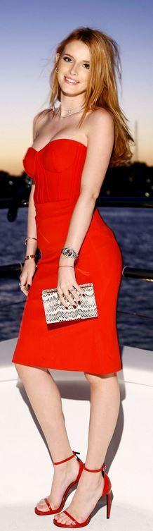 Bella Thorne: Dress – Zac Posen Shoes – Saint Laurent Purse – Henri Bendel