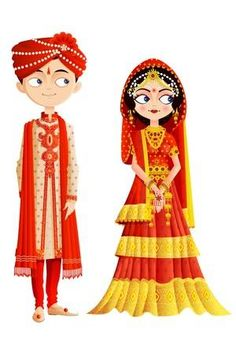 Traditional indian wedding dress PNG and Clipart Wedding Couple Cartoon, Indian Wedding Couple, Indian Bride And Groom, Wedding Couples, Bengali Wedding, Indian Wedding Invitation Cards, Indian Wedding Cards, Creative Wedding Invitations, Invites Wedding
