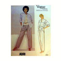 Vogue American Designer ADRI Top and Tapered Pants Sewing Pattern Misses Size 12 Uncut Vogue 1151