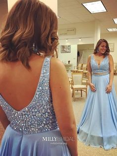 Two Piece Prom Dresses Long, Blue Formal Evening Dresses A-line, Elegant Pageant Dresses Open Back, Chiffon Graduation Dresses V-neck #MillyBridal #twopiecepromdresses #bluepromdresses #graduationdress