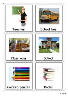 School Photo Flash Cards- great for learning vocabulary on spring topic through different matching picture to picture activities and memory games as well as for reading and spelling activities. It is a good resources for students with autism and special needs.
