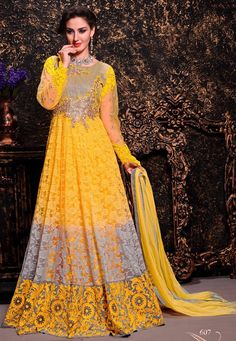 Andaaz Fashion presents new arrival Yellow color semi stitched anarkali suit with price $76.57. Embellished with Patch work,lace border work. The top length is 48 to 50 inch. It can be customize up to size 42. Sleeve can stitched up to size 22 inch.  http://www.andaazfashion.us/yellow-brasso-net-anarkali-suit-dmv13420.html