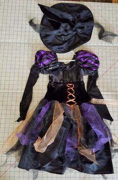 NWT Wicked Witch Halloween Costume Fancy Dress & Hat Authentic kids Girls 14 #Authentickids #CompleteOutfit