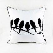 Livv Lifestyle zwart wit kussenhoes vogels