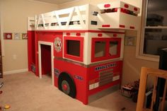 How to build a fire truck loft bed. Free step by step plans to build a fire engine loft bed. Fireman Room, Firefighter Bedroom, Furniture Plans, Diy Furniture, Fire Truck Bedroom, Truck Room, Bed Plans, Diy Bed, Do It Yourself Home