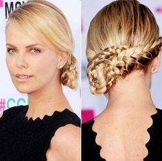 Charlize Theron's elaborate braided side do. Can it get any perfect than this? :)