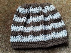 Sweet Stripe Messy Bun Hat / Ponytail Hat / Slouchy by CuddleinCrochet on Etsy