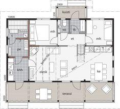 Lepistö / Kontio Cottage Floor Plans, Modern House Plans, My House, Sweet Home, Flooring, How To Plan, Stone, Rock, Modern Home Plans