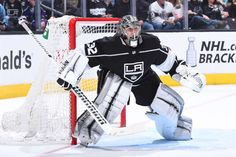 LOS ANGELES, CA - APRIL 2: Jonathan Quick #32 of the Los Angeles Kings defends the net during a game against the Colorado Avalanche at STAPLES Center on April 2, 2018 in Los Angeles, California. (Photo by Juan Ocampo/NHLI via Getty Images)