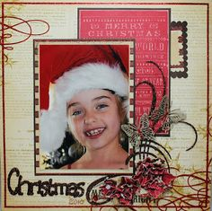 Couture Creations: Christmas Layout and Sketch by Lesa Bird. Love the embossed words behind the photo.