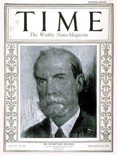 TIME Cover - Vol. 4 Nº 26: Charles Evans Hughes | Dec. 29, 1924                  http://en.wikipedia.org/wiki/Charles_Evans_Hughes