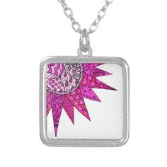 Pink Sunshine - Silver Plated Art Necklace by Sneddonia on Zazzle. Listing is customisable for different styles of pendant.