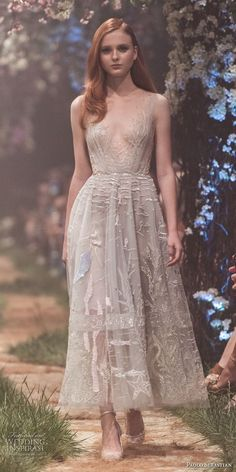 paolo sebastian spring 2018 couture sleeveless illusion bateau v neck full embellishment romantic knee length short wedding dress (11) mv -- Paolo Sebastian Spring 2018 Couture Collection
