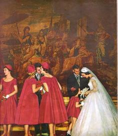 Sharon's Sunlit Memories: Vintage Brides, bridesmaids with saque-back dresses