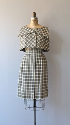 Teal Traina dress 1960s dress vintage plaid 60s by DearGolden