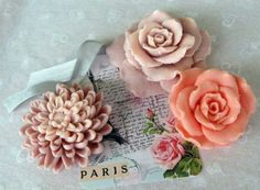 Delicate floral shape soaps.