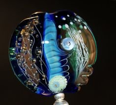 blue lentil with handmade murrini handmade glass von CorneliaLentze, $29.00