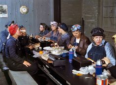 Authentic color photos of women working in the war effort--(Rosie the Riveter). Women employed as roundhouse wipers having lunch, Chicago & North Western Railroad, Clinton, Iowa. Marcella Hart is at left, Mrs. Elibia Siematter at right. April 1943