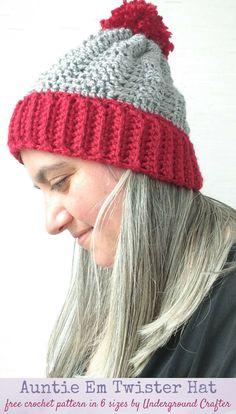 ec59e731e21 Crochet Pattern  Auntie Em Twister Hat in 6 sizes