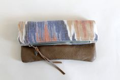 Ikat and leather fold over clutch by Amayahandmade on Etsy