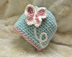 Crochet Baby Girl Hat with Embroidery and Butterfly Applique, newborn, 0 to 3 mos, 3 to 6 mos