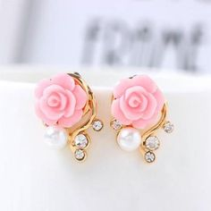 Pink/White Flower Stud Earrings www.jewelryfruit.com We now having summer sale up to 50% OFF AND offer awesome member reward program! Please come visit us.