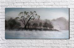 Landscape Painting Large Painting Large Wall Art Canvas wall art Gift ideas Fog on the lake Grey Canvas Art, Grey Wall Art, Large Canvas Wall Art, Extra Large Wall Art, Abstract Canvas Art, Oil Painting Abstract, Acrylic Painting Canvas, Geometric Painting, Large Painting