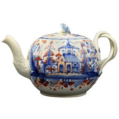 Antique English pottery creamware teapot late 18th century | From a unique collection of antique and modern pottery at https://www.1stdibs.com/furniture/dining-entertaining/pottery/