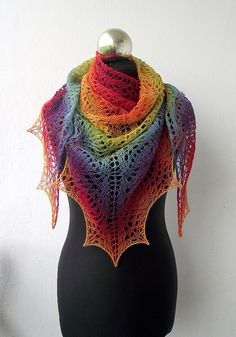 oooh beautiful (it's almost never cold enough in Austin for scarves, but I'd love this anyways.though it wouldn't hurt if it was in black or gray or purple! Crochet Scarves, Crochet Shawl, Knit Crochet, Rainbow Connection, Rainbow Colours, Rainbow Fashion, Rainbow Pride, Shawls And Wraps, Rainbows