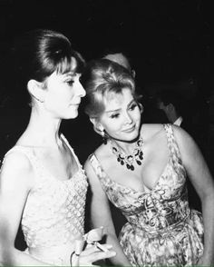 Audrey Hepburn and Zsa Zsa Gabor photographed at the premiere of The Children's Hour, 1961