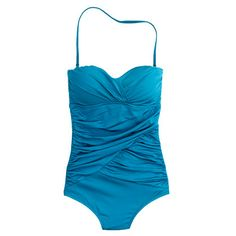 Jersey Lomellina® ruched wrap tank in dark turquoise. It looks more azure to me, but what do I know. I would choose the navy but I already have a navy bikini. Not using the halter strap. EVER.