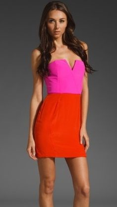 Naven Two Tone Bombshell Dress in Hot Pink Orange // USD345