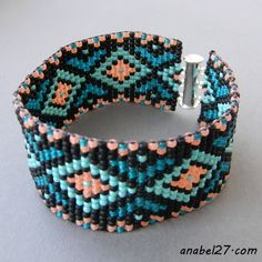 Beautiful beadwoven cuff in turquoise, coral and black tones. Bracelet made of japanese seed beads Toho size Pattern designed by me. Native Beading Patterns, Beadwork Designs, Beaded Bracelet Patterns, Bead Loom Patterns, Crochet Bracelet, Beaded Jewelry, Bead Loom Bracelets, Knotted Bracelet, Seed Bead Earrings