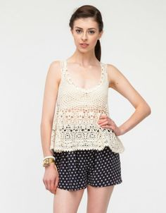 valencia99's save of Seaview Crochet Top In Ivory on Wanelo