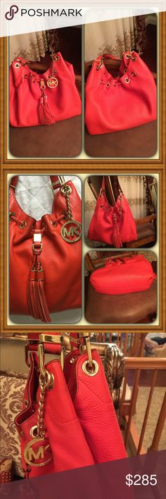 MichaelKors Camden Drawstring Leather Shoulder Bag Large pebbles leather bag with polished golden hardware & grommet accents. Lined interior with zippered pocket. 4 open slip pockets & key clip. Open top with magnetic closure& drawstring cinch with oversized tassels. Beautiful poppy color.  Bag is in excellent condition no rips or stains. Treated with MK rain & stain repellent. Michael Kors Bags Shoulder Bags