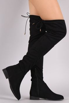 Drawstring Tie Over The Knee Flat Boots  RHC9dr1L