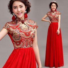 Dragon brocade mandarin collar floor length Aline Chinese red bridal wedding dress evening gown 003