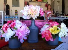 Shabby chic flower arrangement maple jar candle jar repurposed spray painted
