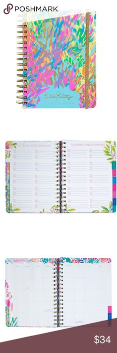 "Lilly Pulitzer - Sparkling Sands 17 month Agenda August 2017 - December 2018. Weekly & Monthly pages. 2 sticker pages & pocket. Gold foil & neon accents. Gold elastic closure. Gold spiral. Measures 6 3/4"" x 8 7/8"". Lilly Pulitzer Accessories"