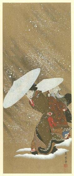 """Beauties in the Snow"" by Utamaro Kitagawa, masterpieces selected from the Ukiyoye School Volume V, Shiichi Tajima, Editor, 1908"