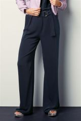 Navy Belted Wide Leg Trousers
