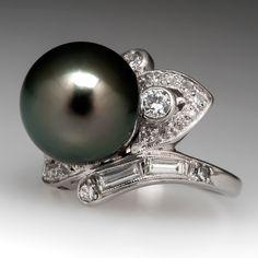 Tahitian+Pearl+&+Diamond+Bypass+Ring+Platinum+1950's