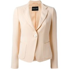 Emporio Armani Fitted Blazer ($623) ❤ liked on Polyvore featuring outerwear, jackets, blazers, fitted blazer, beige blazer, beige jacket, blazer jacket and fitted jacket