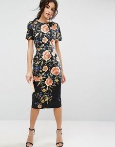 ASOS | ASOS Wiggle Dress in Floral Embroidery Print
