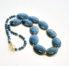 Luxe Lapis Lazuli Oval Beaded Necklace and Earrings, Indigo Blue, Gold Filled, Vermeil - product images