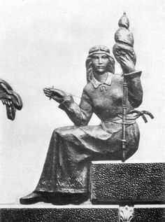 LAIMA SPINNING BALT MAIDEN GODDESS OF FATE, GOOD LUCK AND HAPPINESS  By the Latvian Sculptor Kārlis Zemdega (1936).  By the Latvian Sculptor Kārlis Zemdega (1936).