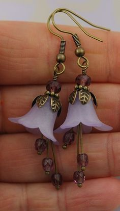 Beaded Jewelry Flower Earrings Lilac Lucite Flower by Dalim, $24.00