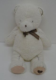 78138f4492 Carter s My First Teddy Bear White Plush Brown Stitches Bow Heart Chamois  14